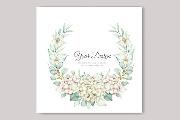Carte d'invitation de mariage hortensia aquarelle
