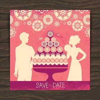 Carte d'invitation de mariage. illustration vintage avec des silhouettes de jeunes mariés et un gâteau