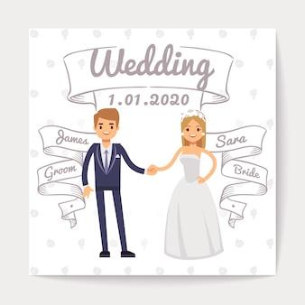 Carte d'invitation de mariage avec un jeune couple juste marié et leurs noms sur des rubans dessinés à la main