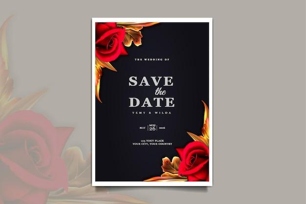 Carte d'invitation de mariage de luxe enregistrer la date