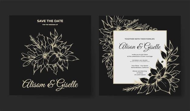 Carte d'invitation de mariage avec le luxe floral de contour de croquis dessinés à la main