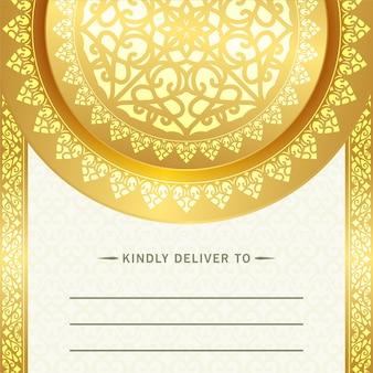 Carte d'invitation de mariage de luxe avec mandala