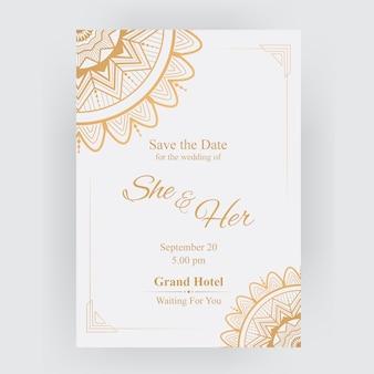 Carte d'invitation de mariage de luxe d'or