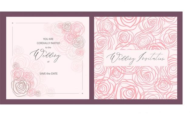 Carte d'invitation de mariage de luxe avec roses roses