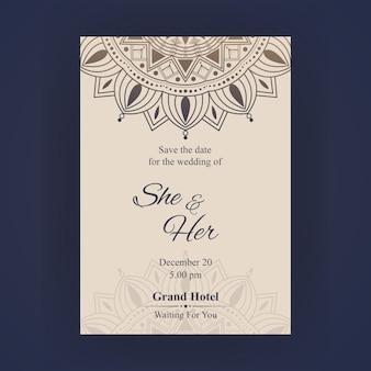 Carte d'invitation de mariage de luxe