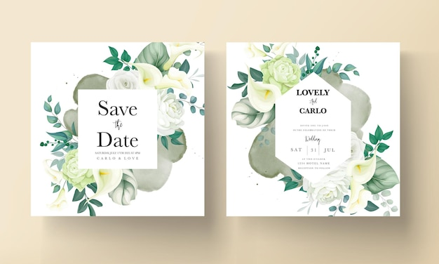Carte d'invitation de mariage de lys de verdure de luxe et de fleurs de rose