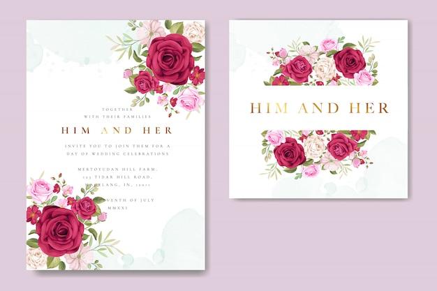 Carte d'invitation de mariage magnifique avec couronne florale et feuilles