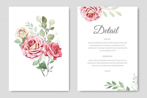 Carte d'invitation de mariage magnifique avec couronne florale