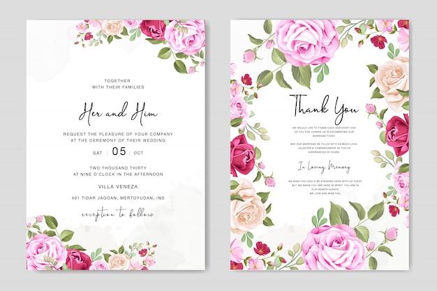 Carte d'invitation de mariage magnifique avec modèle de cadre floral
