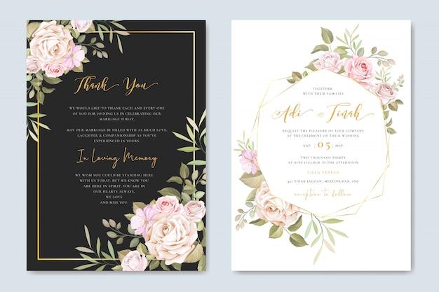 Carte d'invitation de mariage magnifique avec modèle floral et feuilles