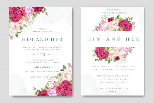 Carte d'invitation de mariage magnifique avec modèle de roses colorées