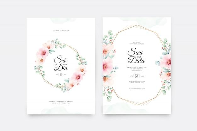 Carte d'invitation de mariage magnifique sertie de floral sur géométrique doré