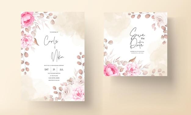 Carte d'invitation de mariage avec main dessiner pêche et floral marron