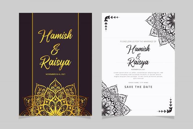 Carte d'invitation de mariage mandala floral minimaliste