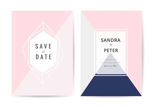 Carte d'invitation de mariage minimal