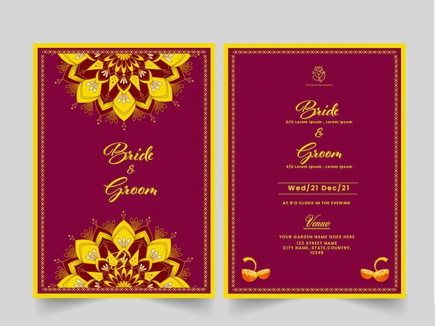 Carte d'invitation de mariage ou mise en page de modèle avec les détails de l'événement en couleur rose et jaune.