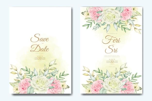 Carte d'invitation de mariage avec modèle aquarelle de feuilles florales
