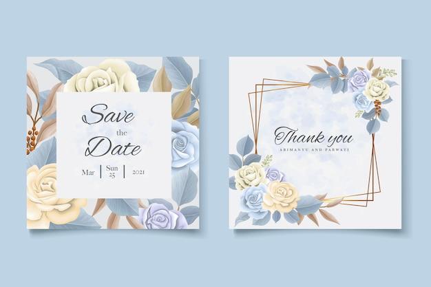 Carte d'invitation de mariage avec modèle de belles roses