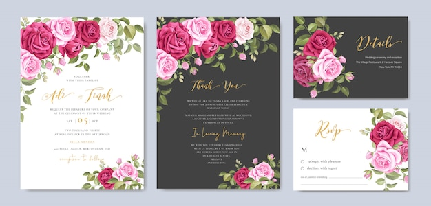 Carte d'invitation de mariage avec modèle de cadre floral et feuilles