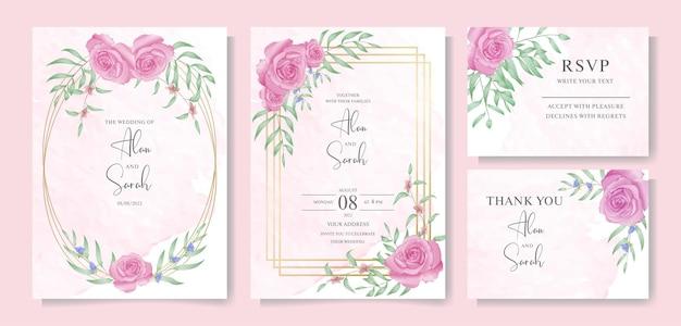 Carte d'invitation de mariage avec modèle d'ensemble complet floral aquarelle vecteur premium