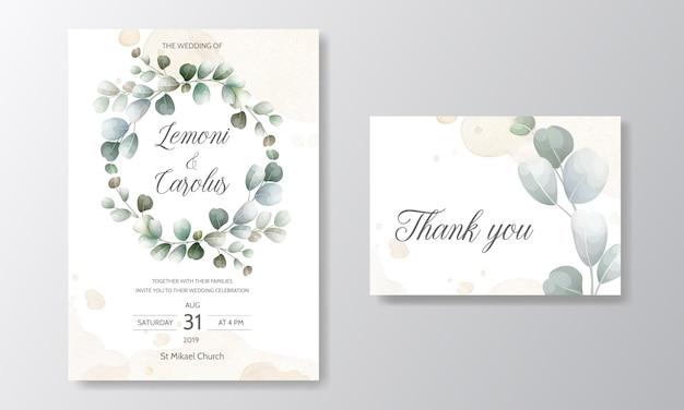 Carte d'invitation de mariage avec modèle de feuilles d'eucalyptus