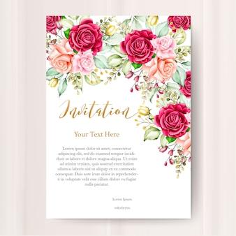 Carte d'invitation de mariage avec modèle floral aquarelle
