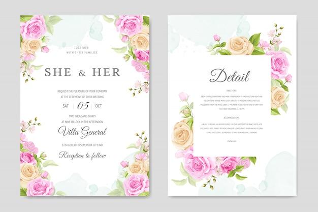 Carte d'invitation de mariage avec modèle de roses jaunes et roses