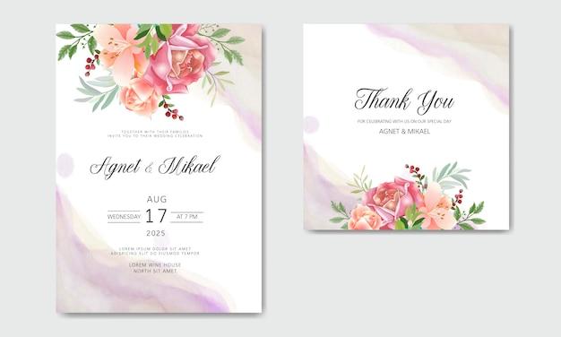 Carte d'invitation de mariage avec des modèles de fleurs romantiques