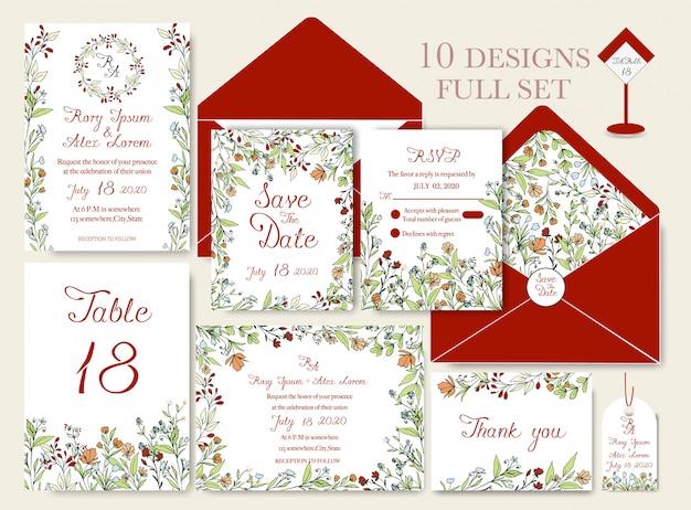 Carte d'invitation de mariage avec des modèles de fleurs.