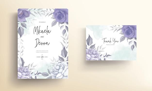 Carte d'invitation de mariage moderne avec une belle décoration de fleurs violettes