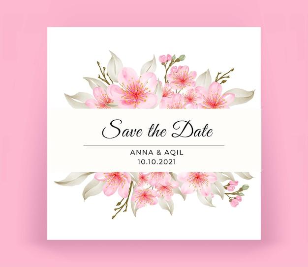 Carte d'invitation de mariage moderne avec belle fleur de cerisier