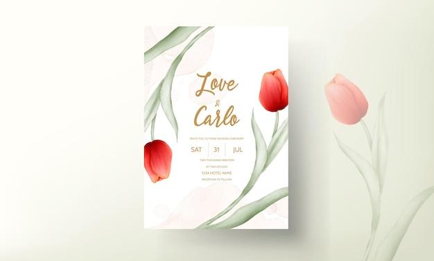 Carte d'invitation de mariage moderne avec une belle fleur de tulipe rouge
