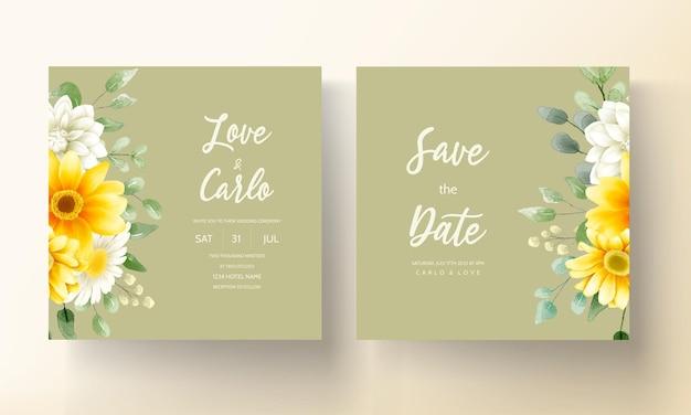 Carte d'invitation de mariage moderne avec de belles décorations florales aquarelles