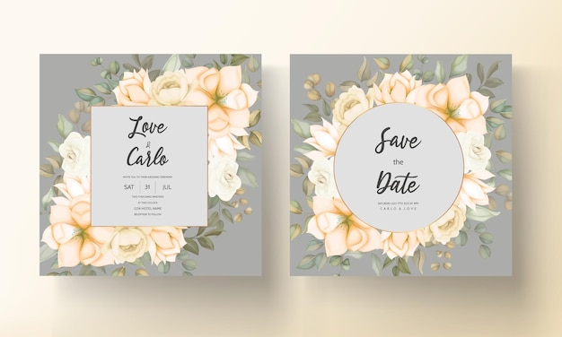 Carte d'invitation de mariage moderne avec de belles fleurs