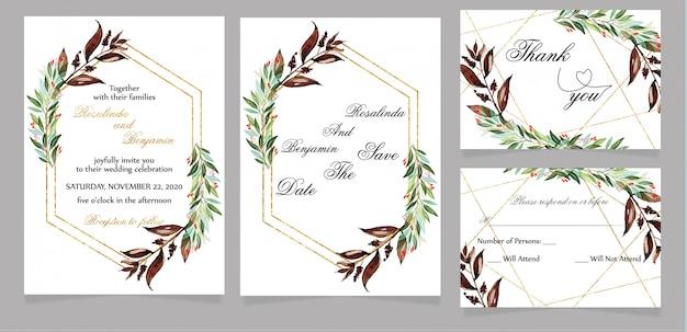 Carte d'invitation de mariage moderne avec carte de remerciement et rsvp