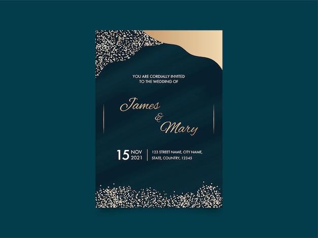 Carte d'invitation de mariage moderne avec détails de l'événement en couleur turquoise et dorée.