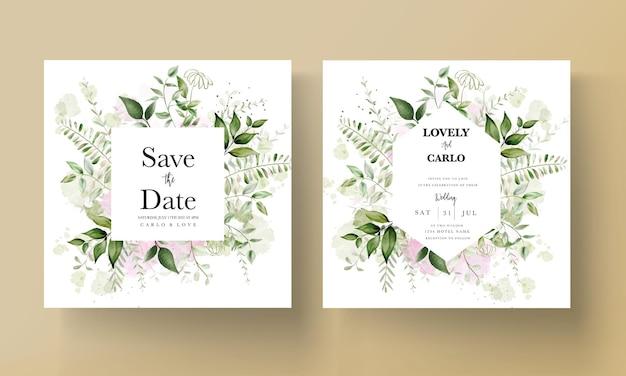 Carte d'invitation de mariage moderne avec des feuilles d'aquarelle