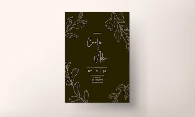 Carte d'invitation de mariage moderne laisse des ornements de conception