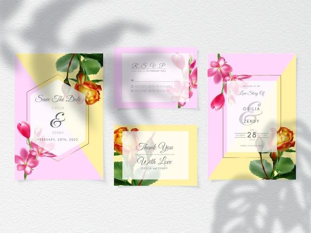 Carte d'invitation de mariage moderne sertie de belles fleurs
