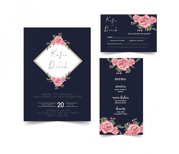 Carte d'invitation de mariage moderne