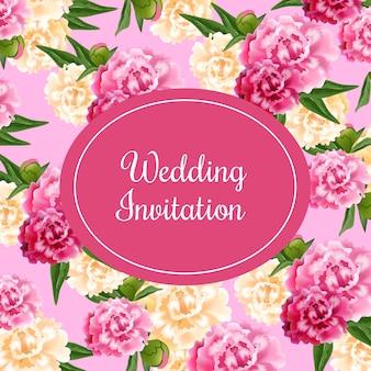 Carte d'invitation de mariage avec ovale magenta et pivoines sur fond rose.