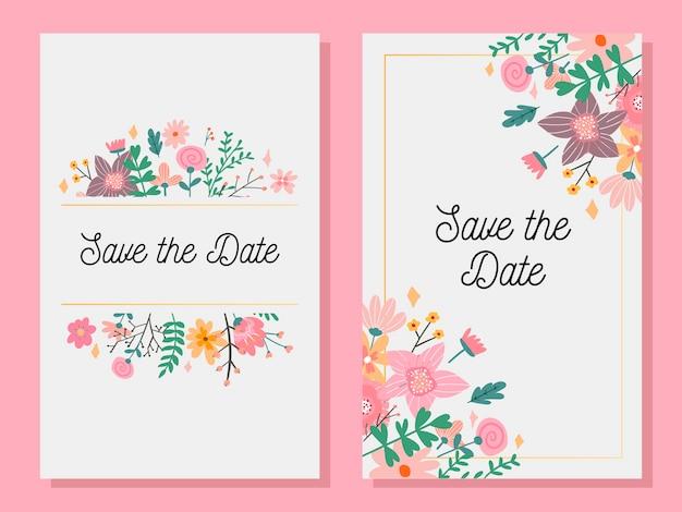 Carte d'invitation de mariage avec panneau personnalisé et cadre fleur
