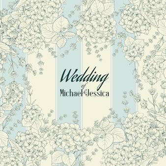 Carte d'invitation de mariage avec panneau personnalisé et cadre de fleurs.