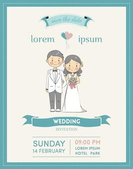 Carte d'invitation de mariage avec personnage de dessin animé et couleur pastel
