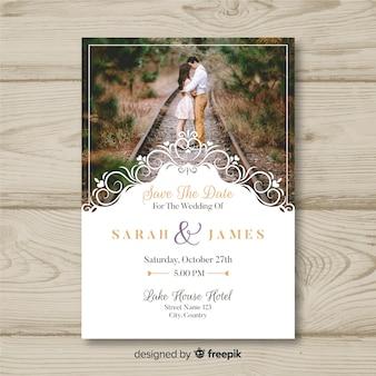 Carte d'invitation de mariage avec photo