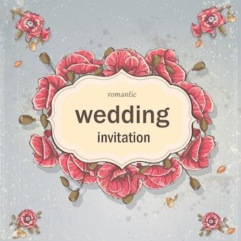 Carte d'invitation de mariage pour votre texte sur fond gris avec des coquelicots