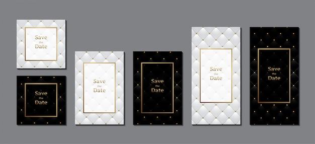 Carte d'invitation de mariage rembourrage en cuir de luxe