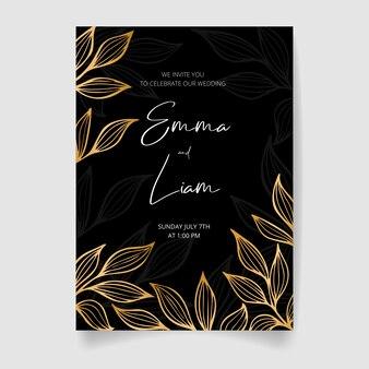 Carte d'invitation de mariage, réservez la date avec des fleurs, des feuilles et des branches dorées.