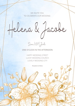 Carte d'invitation de mariage, réservez la date avec fond aquarelle, cadre doré, fleurs, feuilles et branches.