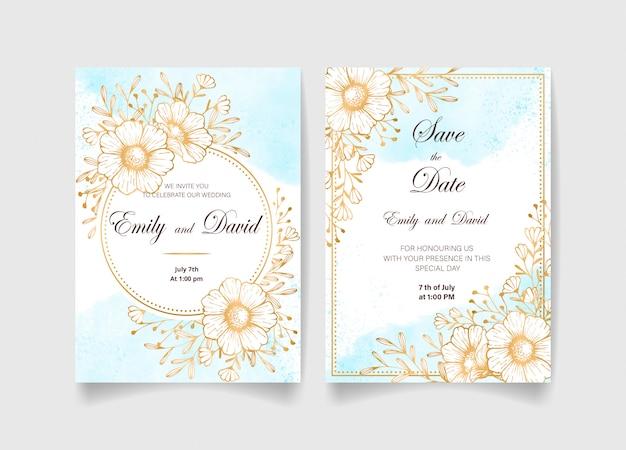 Carte d'invitation de mariage, réservez la date avec fond aquarelle, fleurs dorées, feuilles et branches.